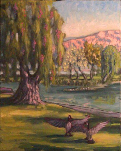 original oil painting, San Diego plein air, Lindo Lake, artist, Ronald Lee Oliver