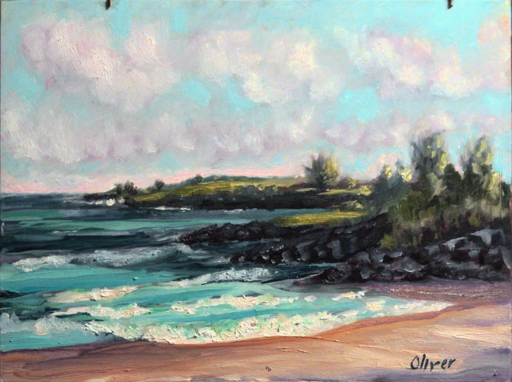 Plein air painting of D.T. Fleming beach in Kapalua, Maui