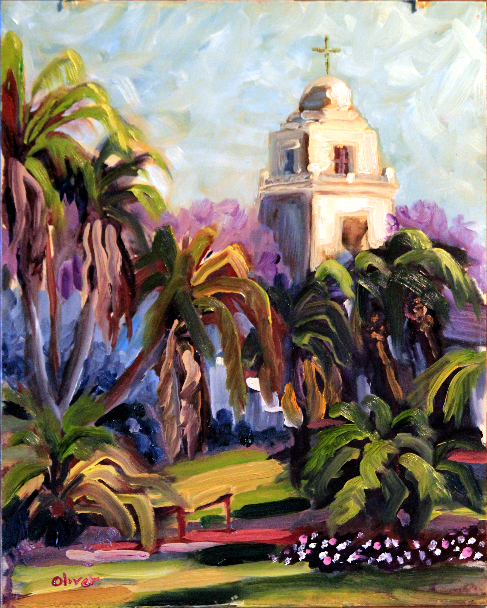 original oil painting, San Diego plein air, Presidio Park, artist, Ronald Lee Oliver