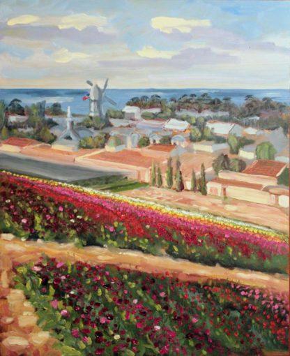 San Diego plein air, original oil painting, Carlsbad flower fields, artist, Ronald Lee Oliver
