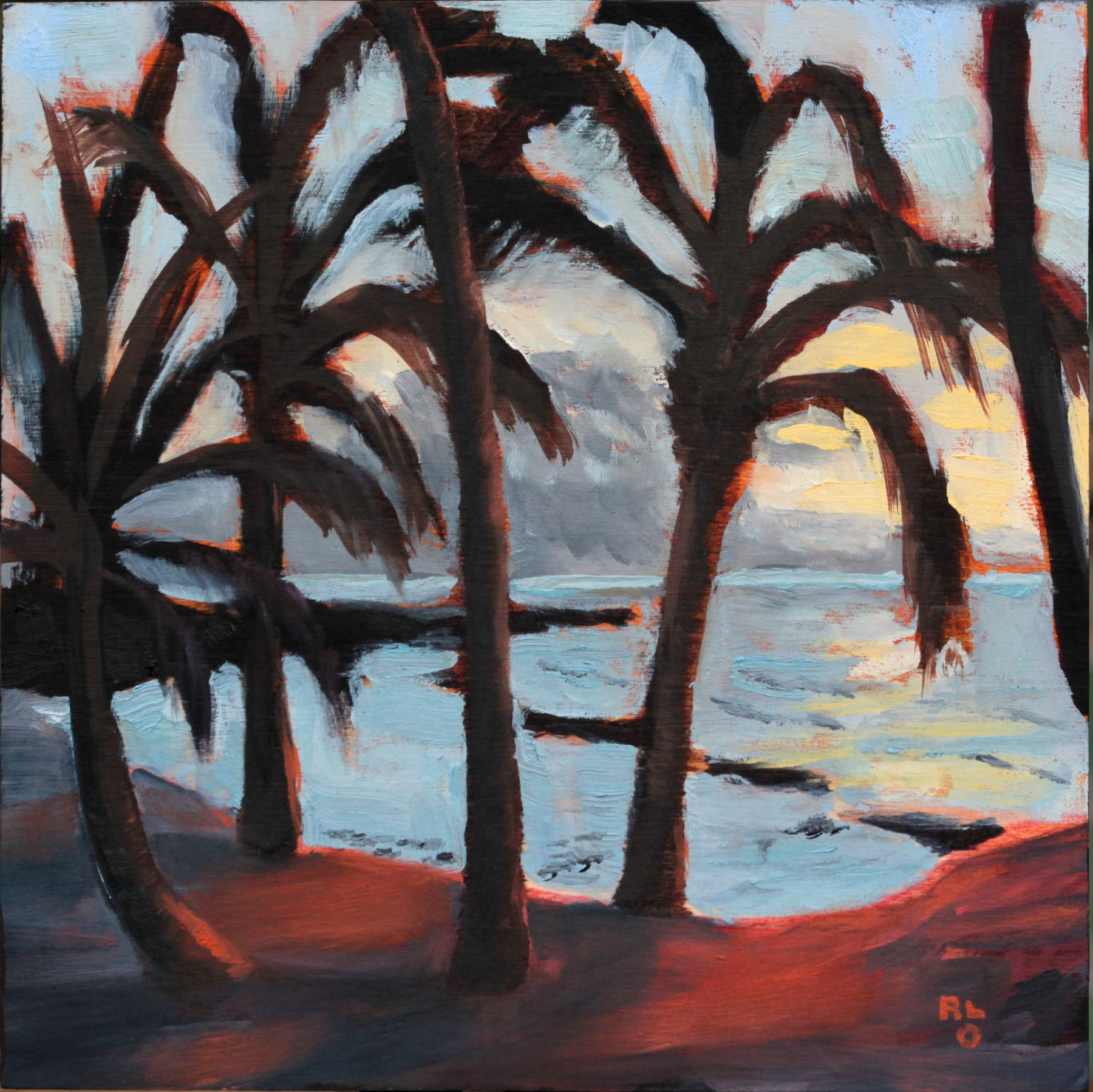"""Hawaiian Sunset 12x12"""" Oil on Cradled Panel by Ronald Lee Oliver"""
