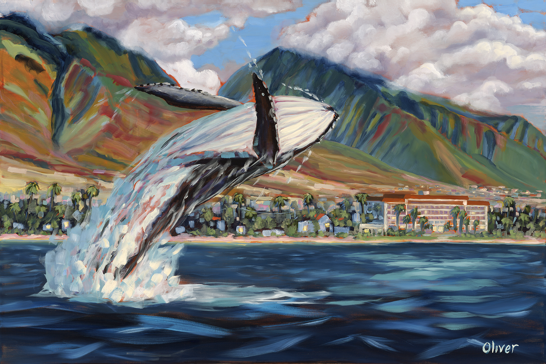 original oil painting, Hawaii, Maui, Whale breaching, artist, Ronald Lee Oliver