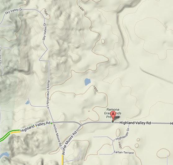 Map to Ramona Grasslands Preserve