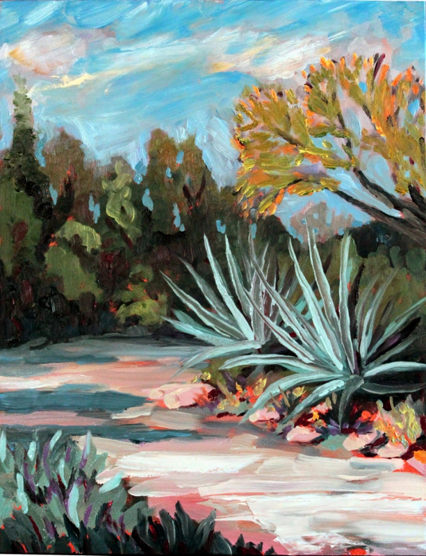 "Blue Agaves - 12X16"" oil on panel by Ronald Lee Oliver"