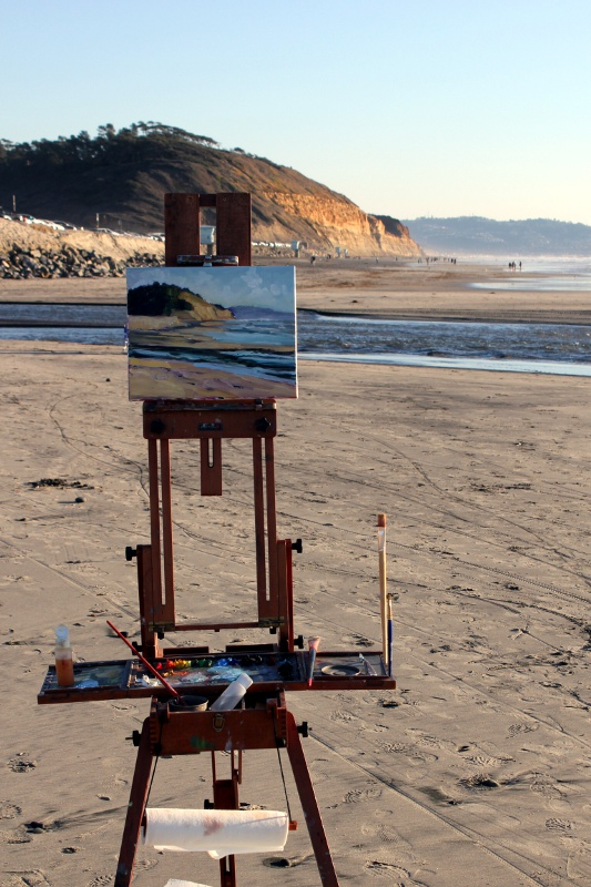 French easel of Ronald Lee Oliver on the beach.