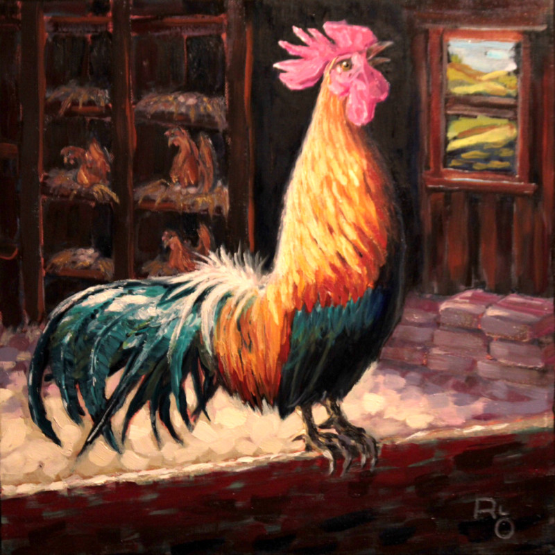 """""""Chanticleer"""" 16 x 16"""" Oil on Canvas by Ronald Lee Oliver"""