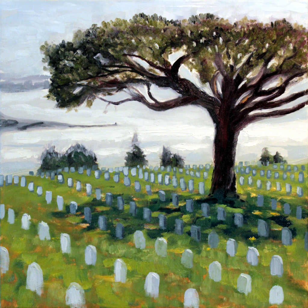 """Fort Rosecrans National Cemetery 18 x 18"""" oil on canvas"""