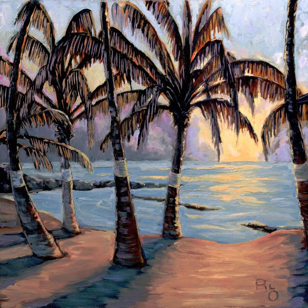"""Hawaiian Dawn oil on canvas 24 x24"""" by RLOArtist"""