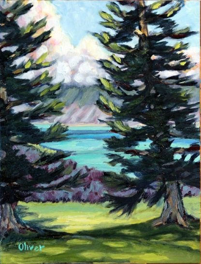 Kapalua Cook Pines original oil painting by Ronald Lee Oliver