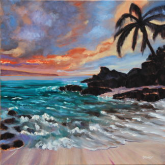 original oil, Hawaii, Hawaiian seascape, painting done in studio by San Diego plein air artist, Ronald Lee Oliver