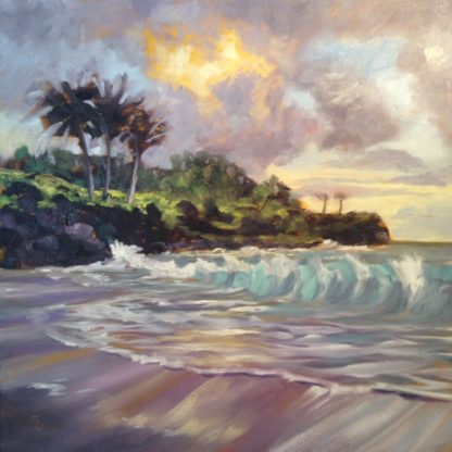 original oil painting, Hawaii, Hawaiian seascape, done in studio by San Diego plein air artist, Ronald Lee Oliver