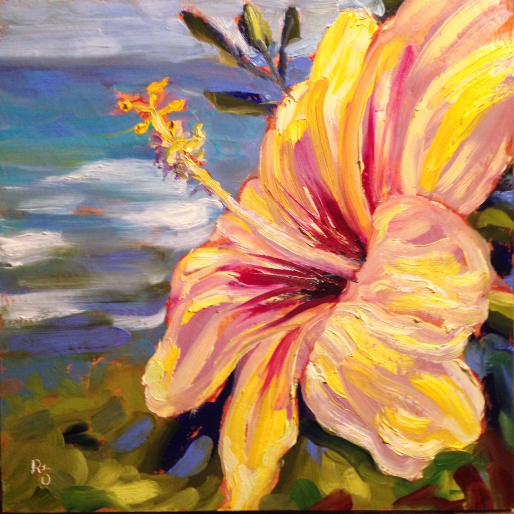 "Pua Aloalo (Yellow Hibiscus) 12"" x 12"" oil on 1.5"" cradled panel"