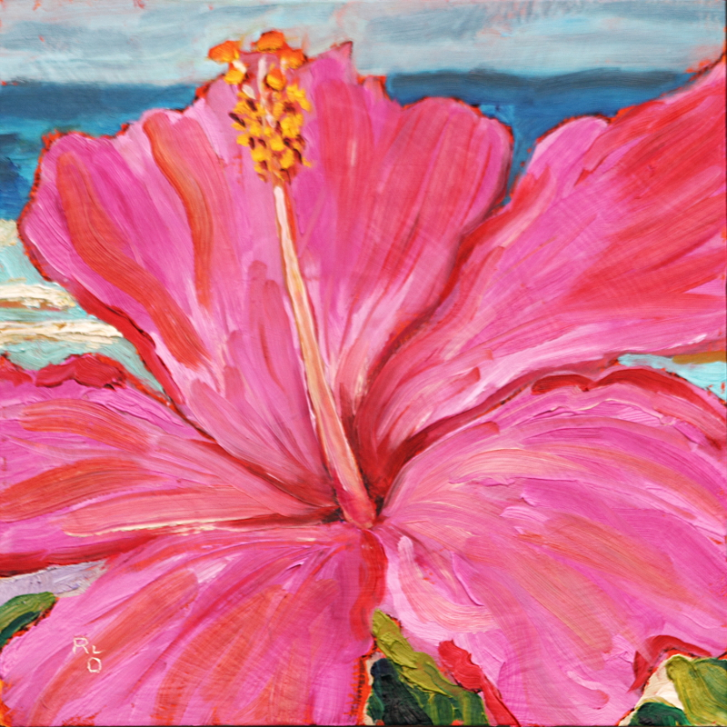 Pua Akala (Pink Hibiscus) 12 x 12 in. oil on deep cradled panel by Ronald Lee Oliver
