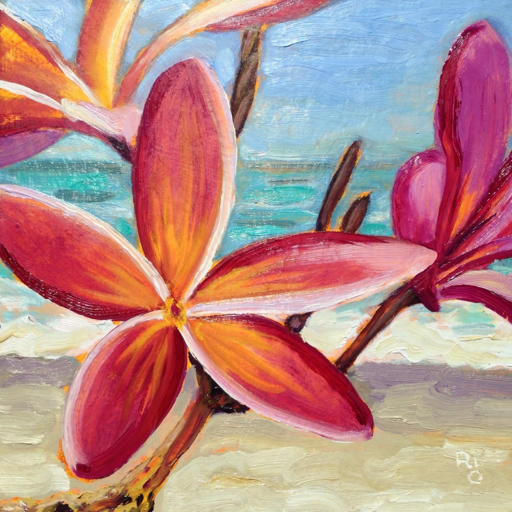 Pua Melia (Plumeria) 12x12 in. Oil on deep cradled panel