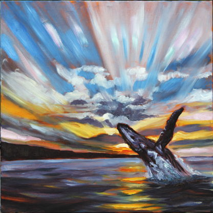 Original oil painting, whale, breaching whale, Hawaii, artist Ronald Lee Oliver
