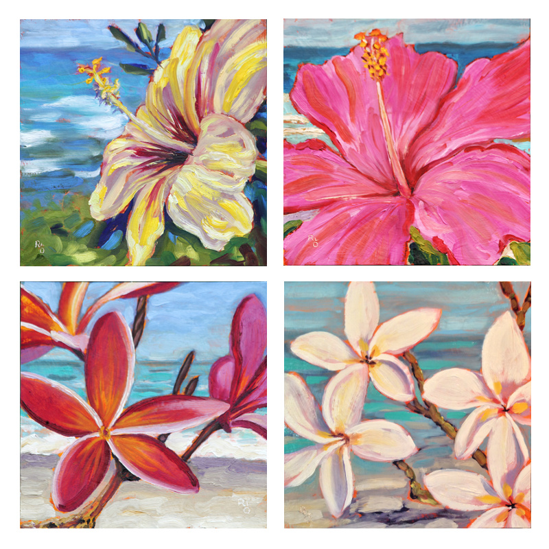 Hawaiian Floral Seascapes ~ Original Oil Paintings by Ronald Lee Oliver