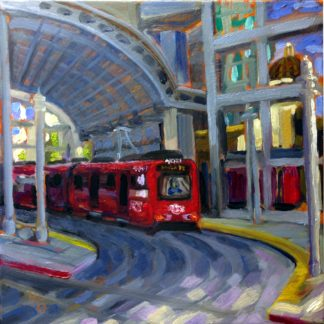San Diego plein air painting of San Diego Trolley by Ronald Lee Oliver