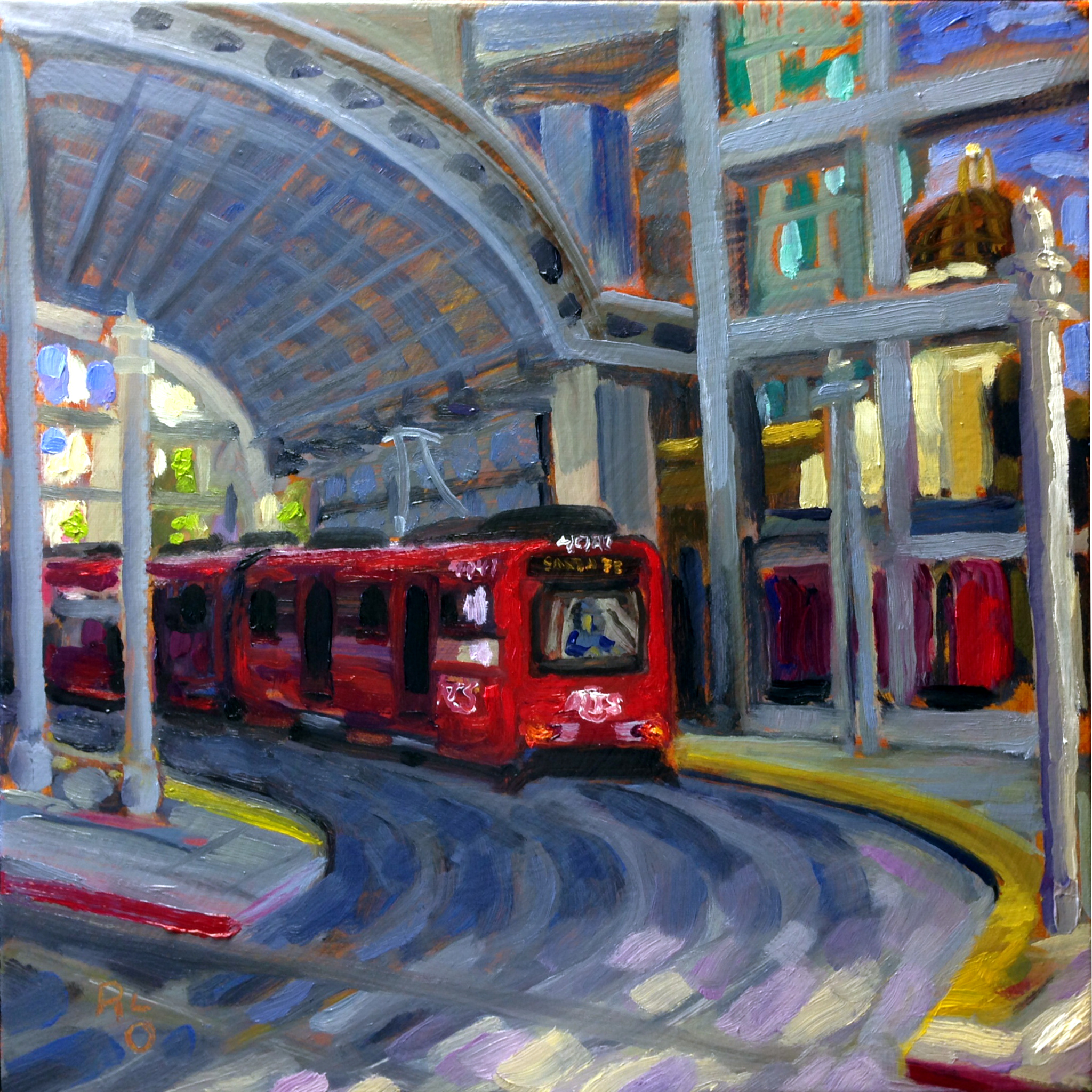 Santa Fe Trolley Depot as painted by California artist, Ronald Lee Oliver