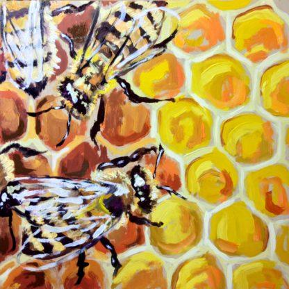 San Diego artist Ronald Lee Oiver, oil painting, bees, plein air
