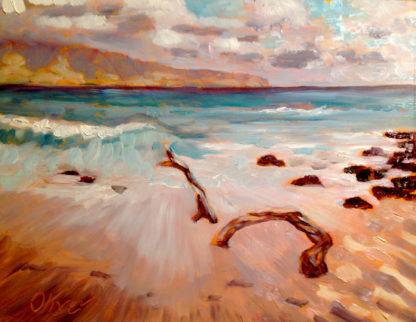 Molokai Driftwood, Hawaiian Plein air painting by San Diego, California Artist, Ronald Lee Oliver