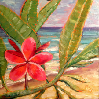 Plumeria Paradise original oil painting by California artist, Ronald Lee Oliver