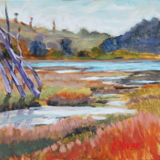 Batiquitos ~ San Diego plein air oil painting of Batiquitos Lagoon by artist Ronald Lee Oliver