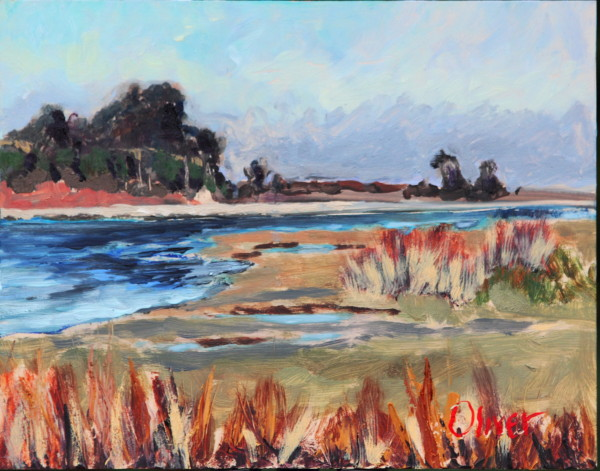 Batiquitos Looking West ~ plein air oil painting by artist Ronald Lee Oliver