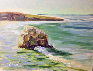 Osprey Rock ~ San Diego Plein air painting by Ronald Lee Oliver