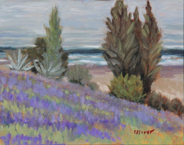 San Diego Plein air painting of lavender fields by Ronald Lee Oliver
