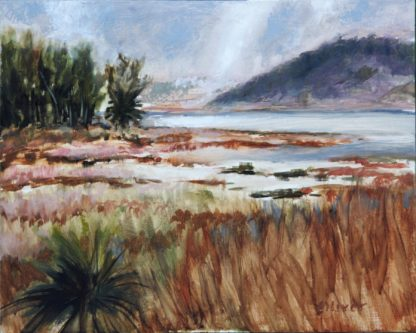 Batiquitos Clearing, San Diego plein air painting by artist Ronald Lee Oliver.