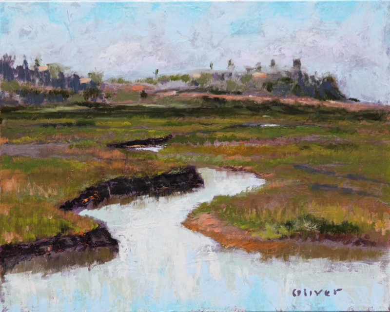 San Elijo Morning, San Diego plein air painting by artist Ronald Lee Oliver.