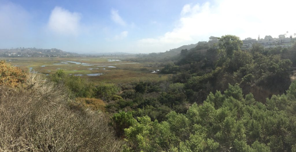 A panoramic view of the Rios Trailhead at San Elijo Lagoon.